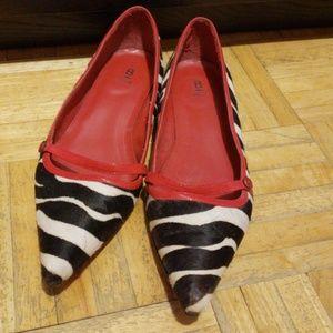 Black/white faux fur zebra print & red strap flats